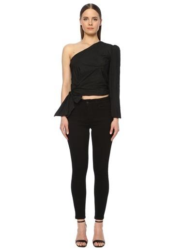 NetWork Kadın 1073390 Regular Fit Kırışık Dokulu Tek Omuzlu Bluz Siyah